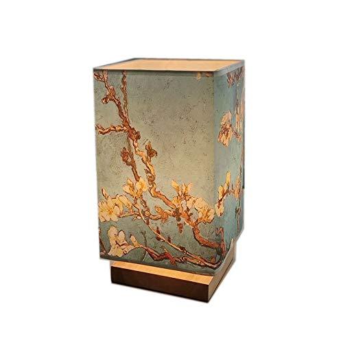 Lampada Da Tavolo Quadrata In Legno Massello In Stile Giapponese Lampada Da Comodino Luce Notturna Luce Calda