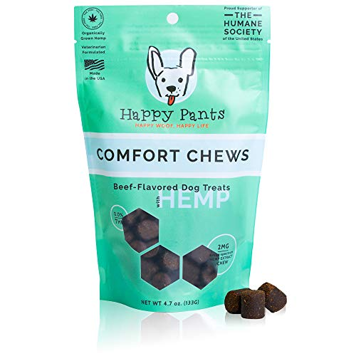 Happy Pants Hemp Calming Treats for Dogs - 4.7 Oz - Calming Chews for Dogs with Anxiety and Stress - Delicious Beef Flavored Calming Bites Promote Overall Health for All Dog Breeds and Sizes