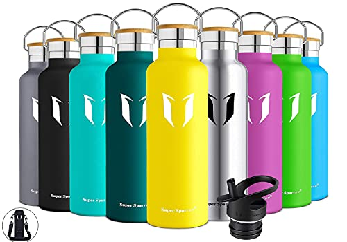 Super Sparrow Trinkflasche Edelstahl Wasserflasche - 500ml - Isolier Flasche mit Perfekte Thermosflasche für Das Laufen, Fitness, Yoga, Im Freien und Camping   Frei von BPA (Zitrone)