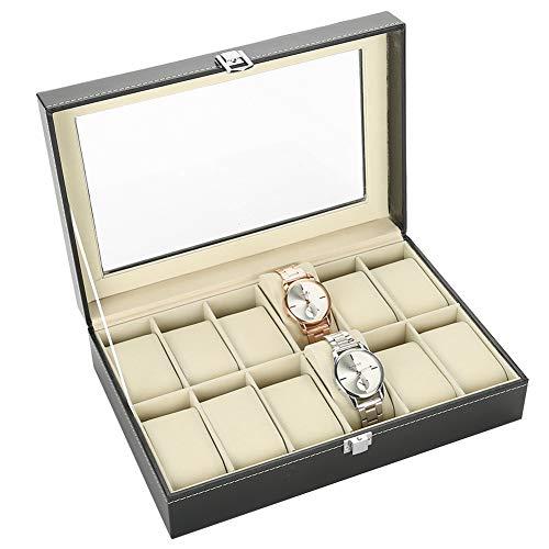 Elegante Uhrenbox,12 Grids Aufbewahrungsbox für Uhren, Schmucketui für Veranstalter und Display, PU Leder,meisten Typen von Armbanduhren geeignet