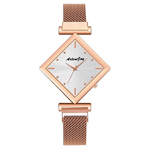 JZDH Relojes para Mujer Reloj de la Correa de Acero Inoxidable de la Correa de Acero Inoxidable de la Moda de Las señoras Reloj de Regalo analógico Relojes Decorativos Casuales para Niñas Damas
