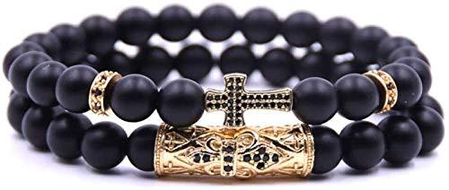 SUCICI Pulsera de Piedra Mujer, 7 Chakra Pulsera de granas de Piedra Helada Natural Elástico Lucky Bangle Yoga Cruz de Oro Joyería del Encanto para Unisex