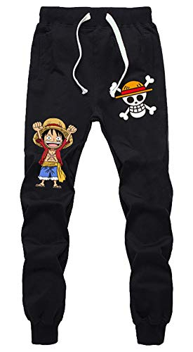 Gumstyle Anime One Piece Luffy Zoro Sweatpants Joggers Elastic Waist Pants Cosplay Costume Sport Jersey Trousers Black/10 XXL