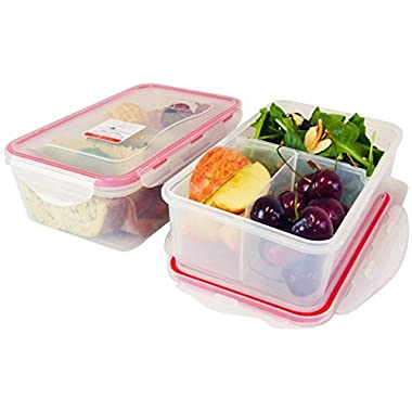 Bento Lunch Box, Meal Prep Containers, Set of 2, Configurable compartments