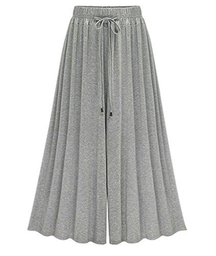 YiLianDa Donna Taglie Forti Pantaloni Harem Donna 3/4 Lunghezza Elasticizzato Pantaloni Casual Grigio 6XL
