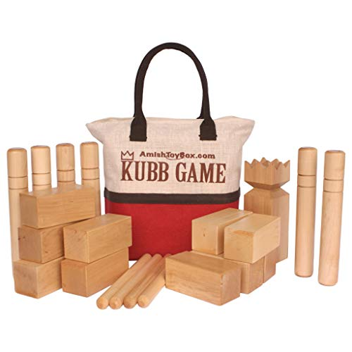 Amish-Made Deluxe Maple Hardwood Kubb Game with Clear Protective Finish, Regulation Size