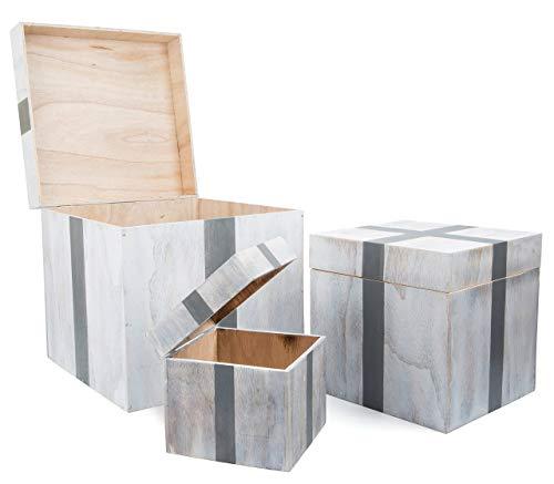 """small foot Holztruhe """"Geschenk"""", 3er Set Truhe, Aufbewahrungsbox, Holz, weiß, 40 x 40 x 40 cm"""