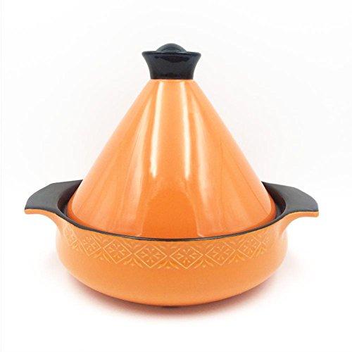 LXZ Tajine En Fonte Avec Couvercle En Céramique Couleur De ?28 Cm,1.5L , Orange