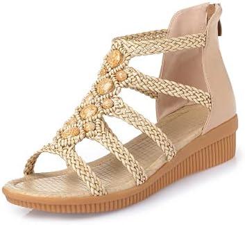 ZAIXO Fashion Women's Beach Sandals Summer Women Genuine Leather Sandals Bohemia Beaded Sandals Women Shoes Plus Size 35-43 Women Sandals (Color : Beige, Shoe Size : 7.5)