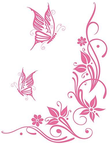 DD Dotzler Design 041215 Klebe-Folie Schmetterling Tattoo Tribal Blumen-Ranke Ornament Auto-Aufkleber Vinyl-Folie Auto-Dekor Aufkleber-Folie spiegelverkehrt (72 x 96 cm) pink