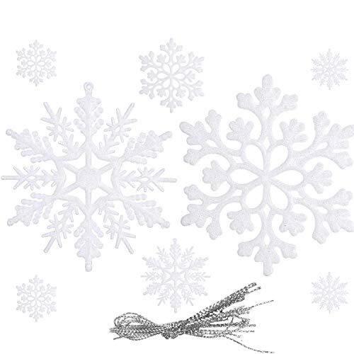 WELLXUNK® Árbol Navidad Decoración, Decoración Navideña Copo Nieve, Navidad Adornos Copos Nieve, Adornos Copo Nieve Relucientes, Decoraciones Ventana Árbol Navidad Colgando Decoraciones Jardín(Blanco)