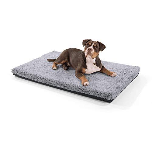 brunolie Luna große Hundedecke, orthopädisch, atmungsaktiv und waschbar, Hundematte mit gelenkschonendem Memoryschaum in Grau, Größe L (100 x 70 x 5 cm)
