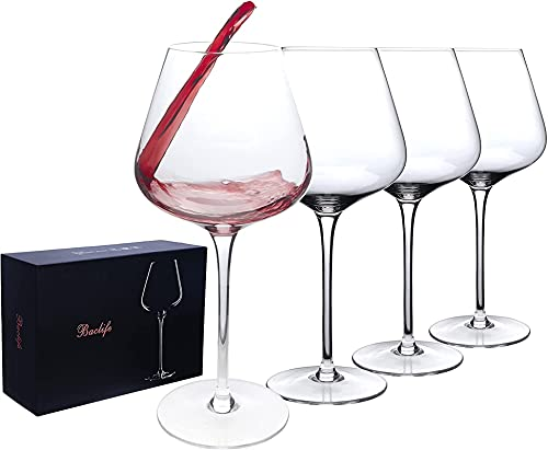 HTRTH Copas de Vino Tinto Conjunto de 4, Copas de Vino Borgoña de Tallo Largo, Gran Regalo para Boda, Aniversario, Navidad 705