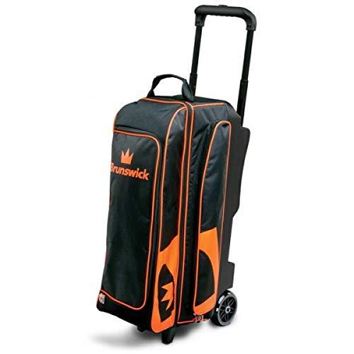Brunswick Blitz 3 Ball Bowling Roller Bowlingtasche für 3 Bälle, Bowlingschuhe und Bowling Zubehör (Schwarz/Orange)
