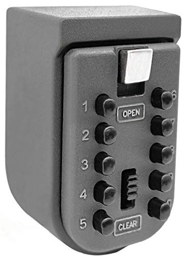 Key Lock Box for Outside Wall Mount, Waterproof Spare Key Storage Box, 10-Digits Combination Lockbox Push Button Key Keeper Box for Home Indoor & Outdoor Realtors Landlord Property Management