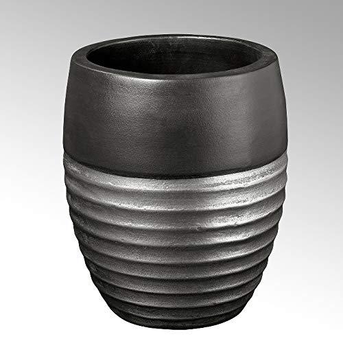 Lambert Sansibar Gefäß, Keramik, Silber, H31, D 26 cm