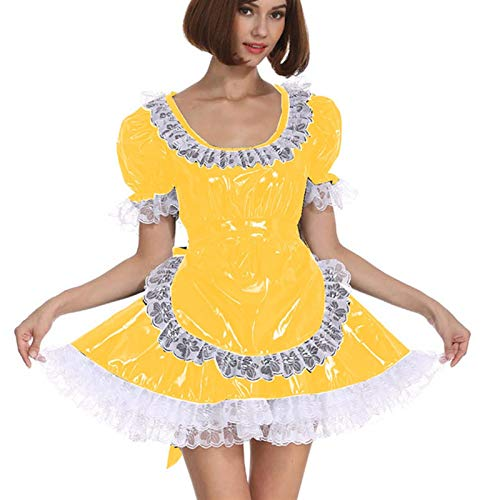 Cosplay Blanco Lace Distribuidor Cosplay Costume Dama Manga Corta Lolita Mini Vestido Precioso Vestido de Lujo de Cosplay con Delantal Traje mucama (Color : Yellow, Size : L)