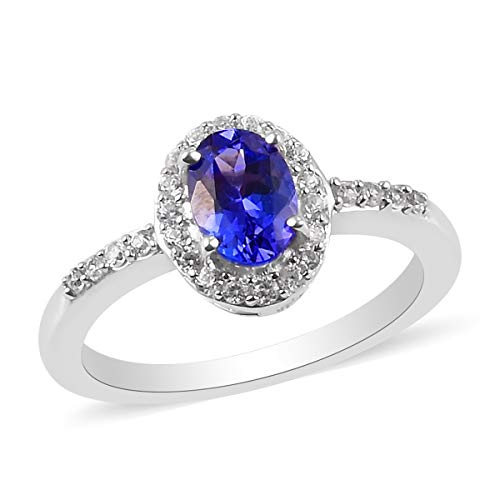 TJC Tanzanite Halo Ring for Women in Platinum Plated 925 Sterling Silver Anniversary Jewellery with White Zircon, TCW 1.25ct
