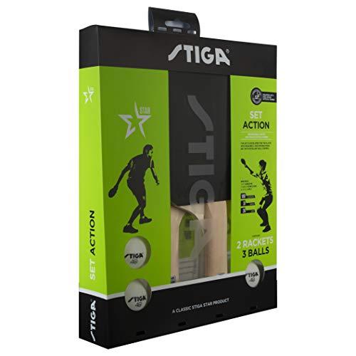 Stiga Unisex-Adult Set Action tischtennisschläger, Red/Black, One Size