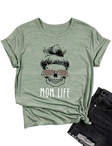 Dresswel Damen Mom Life T-Shirt Leopard Sonnenbrille Grafik Schädel Kurzarm Lustig Tops Tee Shirt für Frauen Oberteile