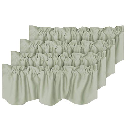 """H.VERSAILTEX 4 Panels Blackout Curtain Valances for Kitchen Windows/Living Room/Bathroom Privacy Protection Rod Pocket Decoration Scalloped Winow Valance Curtains, 52"""" W x 18"""" L, Sage"""