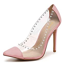 Rhinestone Studded Pointy Toe Mid Spike Heels In Pink