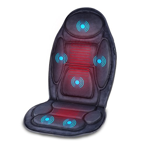 SNAILAX Vibration Massage Seat Cushion with Heat 6 Vibrating Motors and 3 Therapy Heating Pad, Back Massager, Massage Chair Pad for Home Office use