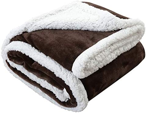 Homelike Moment Sherpa Fleece Blanket Throw Size for Couch Brown Plush Fuzzy Blanket Soft Cozy product image