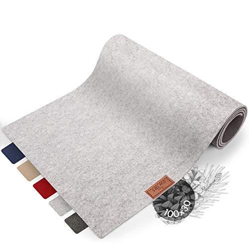 sølmo I Design Tischläufer Grau aus Filz I 100x30 cm Tischband I Abwaschbar mit Leder Label, Skandinavischer Tisch Filzläufer Herbst Weihnachten [Manhattan Grey]