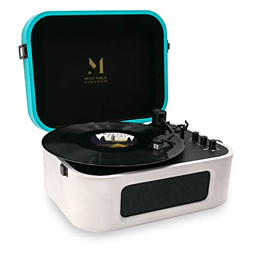Record Player Bluetooth, Turntable Record Player with 2 Built-in Stereo Speaker, Turntable 2-Speed Vinyl Record Player, for 7/10/12inch Vinyl Records, Equipped RCA, Suitcase Design