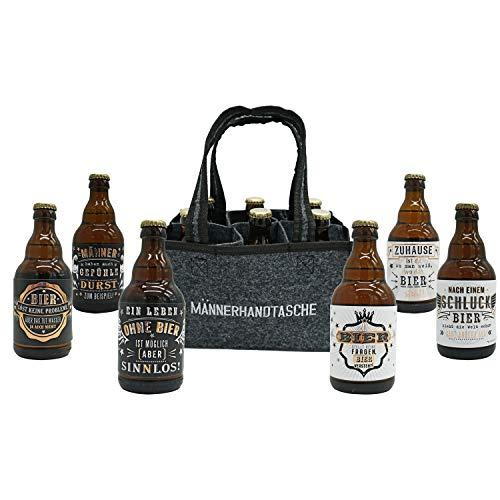 Jack's Männerhandtasche/gefüllt mit 6 Bierflaschen/witzige Sprüche/Herrengeschenk/Partygeschenk/Sixpack/für echte Männer