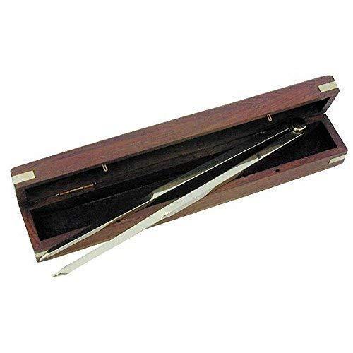 linoows Marinezirkel, Einhand-Zirkel, Stechzirkel aus Messing in der Holzbox