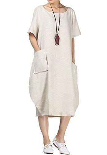 Mallimoda Femme Robe d'été Lin Tunique Décontractée Tops Chic avec Poches Beige XL