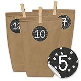 Image of Papierdrachen DIY Adventskalender zum Befüllen - 24 Kraftpapiertüten, Zahlenaufkleber und Klammern - Set zum selber Basteln und Befüllen mit schwarzen Stickern - Design 16