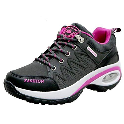 HDUFGJ Sneaker Damen Wanderschuhe Outdoor Trekking Schuhe wasserfestem und atmungsaktivem rutschfest Sportschuhe Walkingschuhe 37(Dunkel grau)
