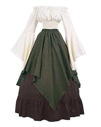 Donne Medievale Abiti retrò dalla Spalla Vestito Lungo Maniche Lunghe Camicia+Gonna Verde S