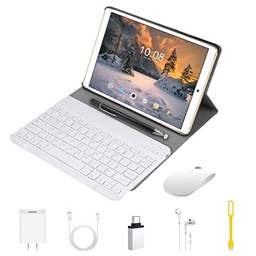 Tablet 10.1 Pulgadas 2 en 1 Tablets PC 4G/WiFi,  4GB RAM+64GB ROM/128GB Android 9.0 Octa- Core 8000mAh (Bluetooth Teclado y Estuche Protector) Dual SIM OTG/BT/GPS Tablets de función de Llamada (Oro)