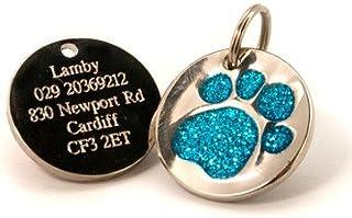 Placa de identificación para perro, grabado personalizado, diseño de huella de perro con purpurina, de 25&nb...