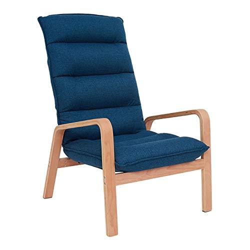 LINGZE Sillón reclinable, sillón de sofá de Tela de Lino con Madera Maciza para Sala de Estar, Dormitorio