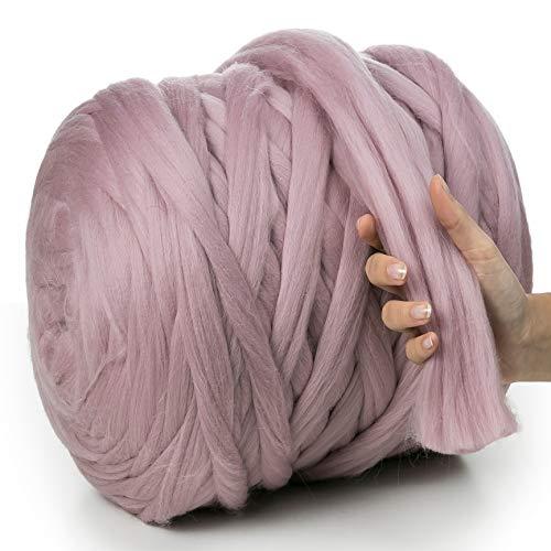 MeriWoolArt 100% Merinowolle zum Stricken & Häkeln mit 4-5 cm dickem Garn | dicke Merino Wolle für XXL Schal, Decke & Kissen (Powder Pink, 4.5Kg Knäuel)