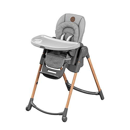 Maxi-Cosi Minla Hochstuhl, höhenverstellbarer Kinderstuhl, nutzbar ab der Geburt bis ca. 6 Jahre (max. 30kg), inkl. abnehmbarem Tisch, verstellbarer Rückenlehne & Liegefunktion, Essential Grey (grau)