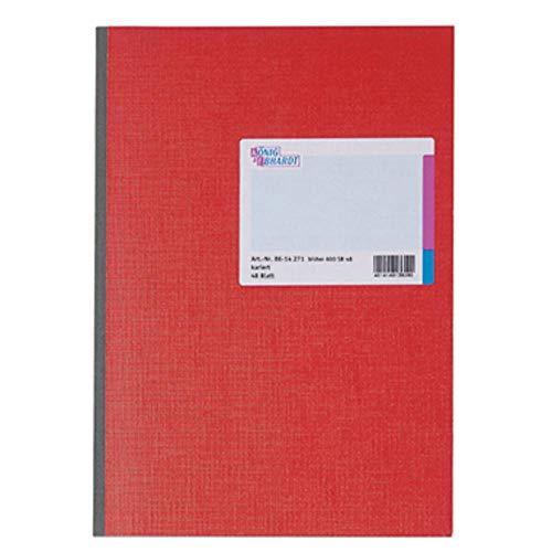 König & Ebhardt 8614271 Geschäftsbuch (glanzlackierter Karton, kariert, A4, 210 x 297 mm, 48 Blatt) rot