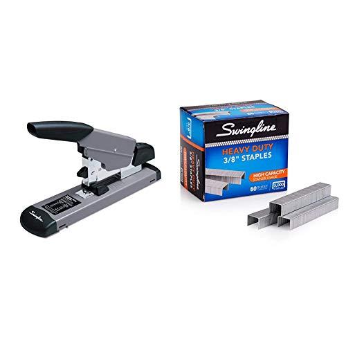 """Swingline Heavy Duty Stapler, 160 Sheet High Capacity, Durable Office Desk Staplers, Black/Gray (39005) & Staples, Heavy Duty, 3/8"""" Length, 60 Sheet Capacity, 100/Strip, 5000/Box, 1 Pack (79398)"""