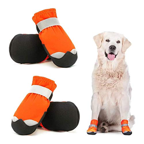 Dociote Scarpe per Cani Impermeabili Set di 4, Stivali Protettivi per Cani con Velcro Riflettente Antiscivolo, Scarpe Resistenti per Cani di Taglia Media Arancia 4#
