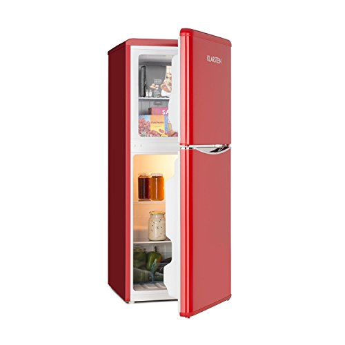 Klarstein Monroe L - Nevera Combi, Aspecto retro, Nevera de 70 l, 38 litros de congelador, 2 estantes de vidrio, Cajón de verduras, 2 compartimentos en la puerta, Regulable a 5 niveles, Rojo