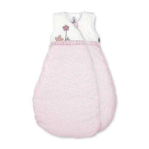 Sterntaler Schlafsack für Kleinkinder, Ganzjährig, Wärmeregulierung, 2-Wege-Reißverschluss, Größe: 80, Emmi Girl, Weiß/Rosa