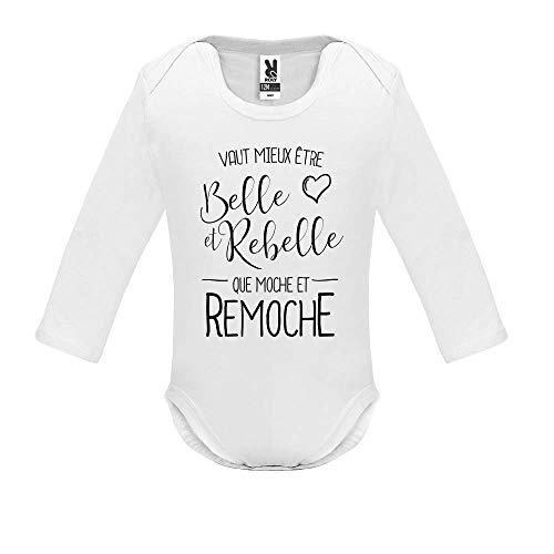 Body bébé - Manche Longue - Vaut Mieux Etre BeLe et Rebelle - Bébé Garçon - Blanc - 6MOIS