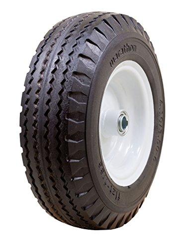 Marathon 4.10/3.50-6' Flat Free, Hand Truck / All Purpose Utility Tire on Wheel, 3' Centered Hub, 3/4' Bearings