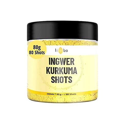 Natürlich scharfer INGWER SHOT • 80 Shots zum Anrühren • mit Ingwer & KURKUMA Pulver, Orange,...