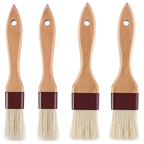 Pastry Brush Natural Bristle Basting Brush Kitchen Oil Brush with Beech Wooden Handle and Hanging Rope String 1 inch & 1.5 inch 4pcs set